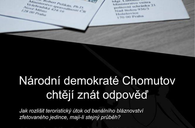 Národní demokraté Chomutovsko píší ministrovi kvůli střelci Bendovi