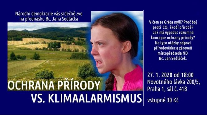 Zveme vás na přednášku Národní demokracie: Ochrana přírody vs. klimaalarmismus